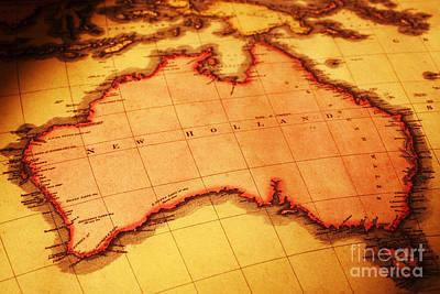 Old Map Of Australia Art Print