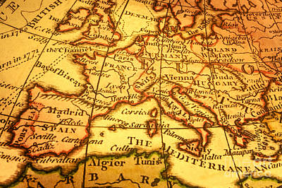 Old Map Of Europe And Mediterranean Art Print by Colin and Linda McKie