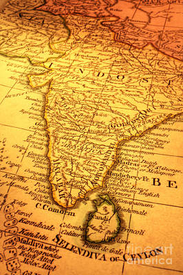 Old Map Of India And Sri Lanka Art Print by Colin and Linda McKie