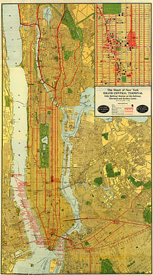 Old Map Of New York Central Railroad Manhattan Map 1918 Print by Mountain Dreams