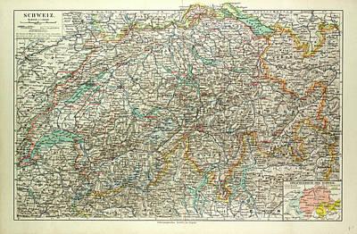 Switzerland Drawing - Old Map Of Switzerland by Swiss School