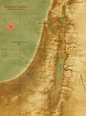Palestine Digital Art - Old Map Of The Holy Land by Carol and Mike Werner