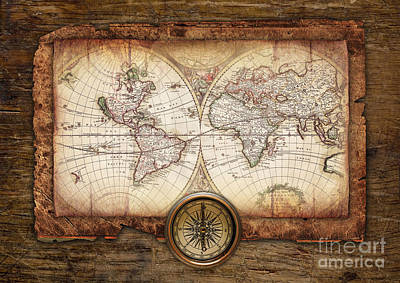 Old Maps Print by Christo Grudev