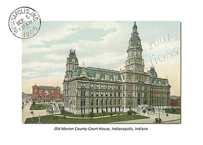 Indiana Scenes Mixed Media - Old Marion County Court House In Indianapolis Indiana by Thomas Keesling