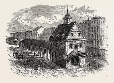 Old Philadelphia Drawing - Old Market House At Philadelphia, United States Of America by American School