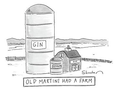 Cocktails Drawing - Old Martini Had A Farm by Danny Shanahan
