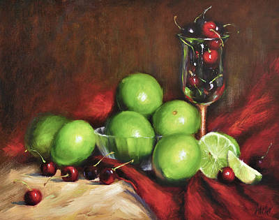 Glass Of Wine Painting - Old Master Cherry Limeade by Katherine Tucker
