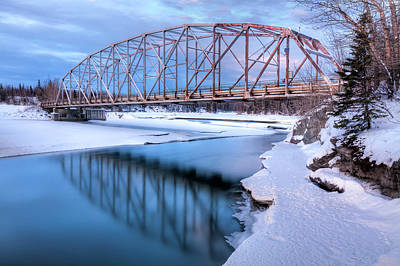 Winter Scenery Photograph - Old Matanuska River Bridge Near Palmer by Lucas Payne