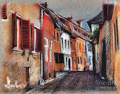 Drawing - Old Medieval Street In Sighisoara Citadel Romania by Daliana Pacuraru