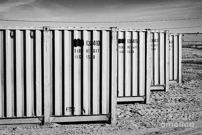 old metal shipping containers used as storage Saskatchewan Canada Art Print