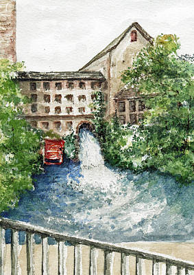 Old Mill Scenes Painting - Old Mill Aqueduct by Elle Smith Fagan