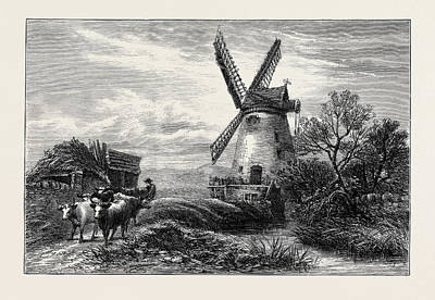 Old Mills Drawing - Old Mill At Ty Cross by English School