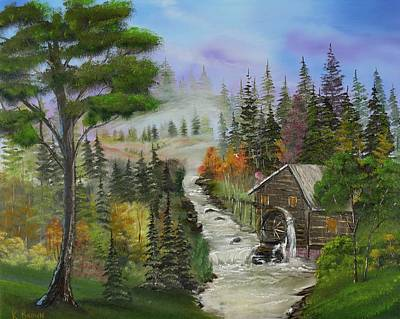 Grist Mill Painting - Old Mill by Kevin  Brown