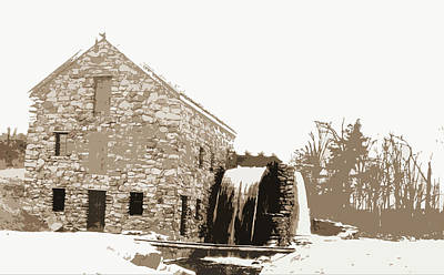 Old Mills Drawing - Old Mill, Waterwheel, Mills, Rivers, Waterwheels by Litz Collection