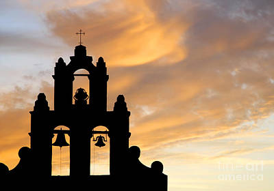 Art Print featuring the photograph Old Mission Bells Against A Sunset Sky by Lincoln Rogers