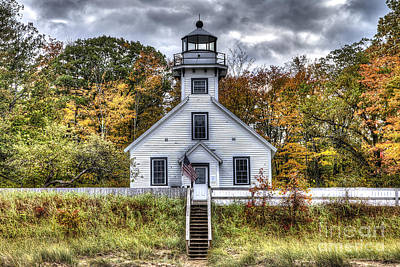 Old Mission Lighthouse In Fall Print by Twenty Two North Photography