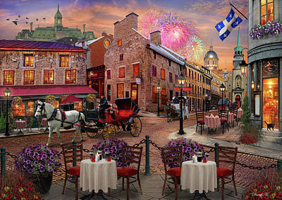 Fireworks Drawing - Old Montreal by David M