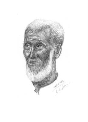 Drawing - Old Muslim Men by Prakash Leuva