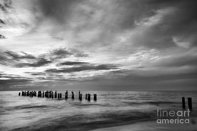Naples Beach Wall Art - Photograph - Old Naples Pier In Black And White by Paul Quinn