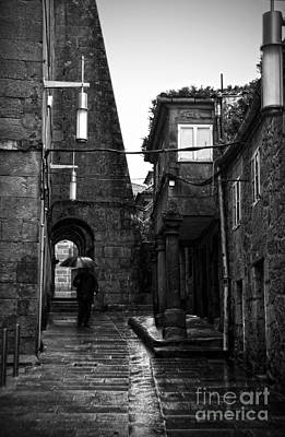 Spanish Photograph - Old Narrow Street In Pontevedra Bw by RicardMN Photography