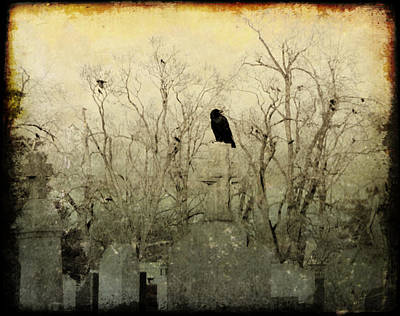 Ravens In Graveyard Photograph - Old Necropolis by Gothicrow Images