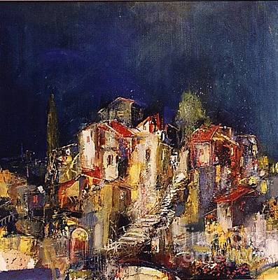 Blue Painting - Old Neighborhood At Night by Grigor Malinov