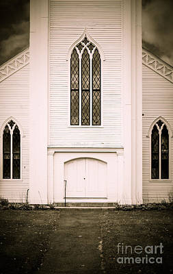 Stained Glass Windows Photograph - Old New England Gothic Church by Edward Fielding