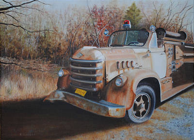 Old Fire Trucks Painting - Old No. 3 by Richard Ginnett