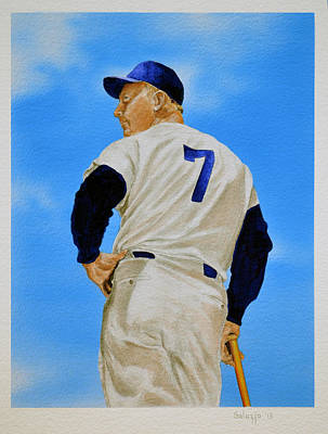Mickey Mantle Painting - Old Number 7 by John Salozzo