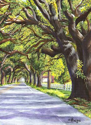 Acrylic Painting - Old Oak Tree by Elaine Hodges