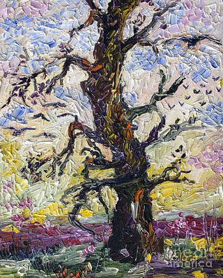 Painting - Old Oak Tree Palette Knife Painting Oil Original by Ginette Callaway