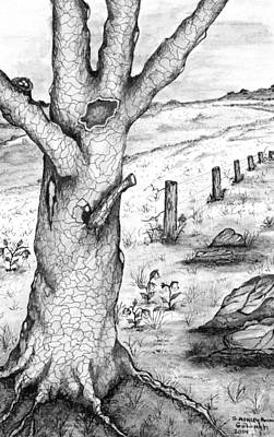 Drawing - Old Oak Tree With Birds' Nest Black And White by Ashley Goforth