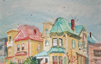 Painting - Old Oakland Houses On A Foggy Day by Asha Carolyn Young