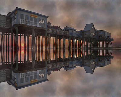Pier Houses Digital Art - Old Orchard Pier Reflection by Betsy Knapp