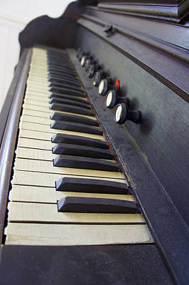 Piano Photograph - Old Organ Keyboard by Laurie Perry