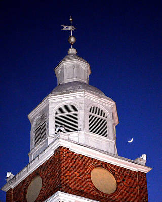 Photograph - Old Otterbein Umc Moon And Bell Tower by Bill Swartwout