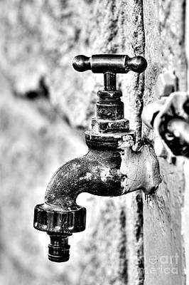 Old Outdoor Tap - Black And White Print by Kaye Menner