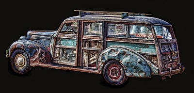 Old Woody Station Wagon Wall Art - Digital Art - Old Packard Woody by Daniel Hagerman