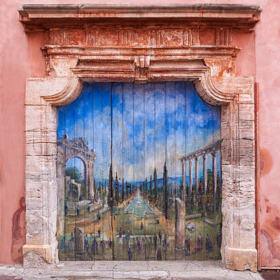 Photograph - Old Painted Door by Michael Blanchette