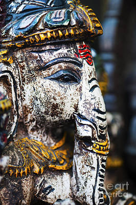 India Religion Photograph - Old Painted Wooden Ganesha by Tim Gainey