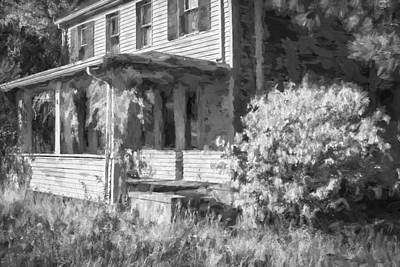 Photograph - Old Parsonage Lafayette Baptist Church Lafayette Sussex County Nj Painted Bw  by Rich Franco