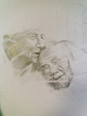 Drawing - Old Partners by Vaidos Mihai