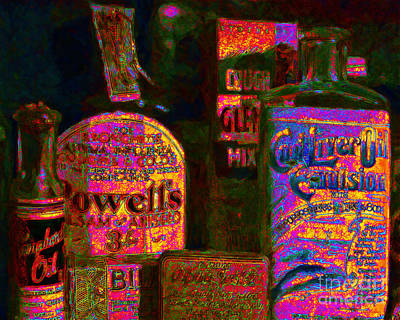 Old Pharmacy Bottles - 20130118 V2a Art Print by Wingsdomain Art and Photography