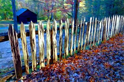 Fall Leaves Photograph - Old Picket Fence Greenbrier School by Rebecca Korpita