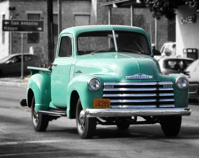 Chev Pickup Photograph - Old Pickup Truck Photo Teal Chevrolet by Terry Fleckney