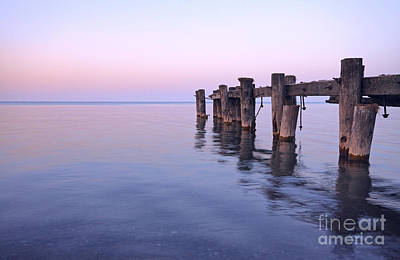 Photograph - Old Pier At Dusk by Charline Xia
