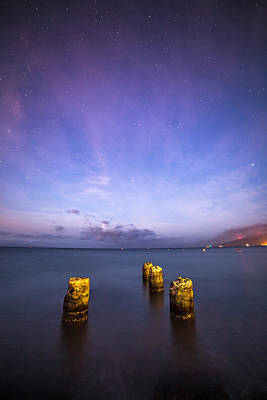 Photograph - Old Pier On A Starry Night by Pierre Leclerc Photography