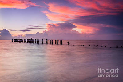 Photograph - Old Naples Pier Sunset by Hans- Juergen Leschmann