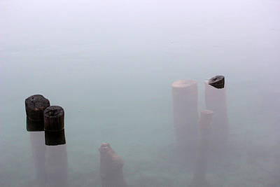 Photograph - Old Pilings In Fog 2 by Mary Bedy