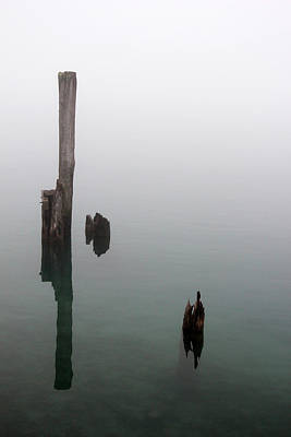 Photograph - Old Pilings Reflections 2 by Mary Bedy